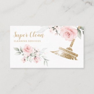 Maid Cleaning House Sparkling Gold Floral Business Card