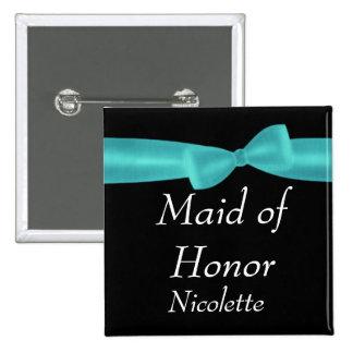 MAID OF HONOR Aqua Bow Wedding Custom Name Y123 Button