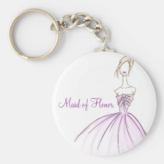 Maid of Honor Basic Round Button Keychain