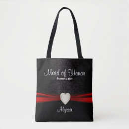 Maid Of Honor  Black and Red Team Bride Tote Bag
