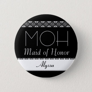 Maid of Honor Black and White Lace Wedding Button