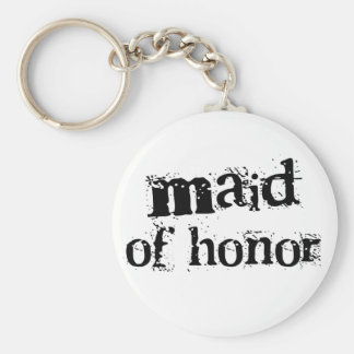 Maid of Honor Black Text Keychain
