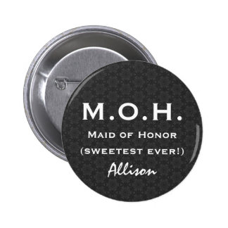 Maid of Honor  Black White Wedding V05 Pinback Button