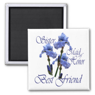 Maid of Honor/ Blue Iris 2 Inch Square Magnet