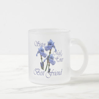 Maid of Honor/ Blue Iris Frosted Glass Coffee Mug