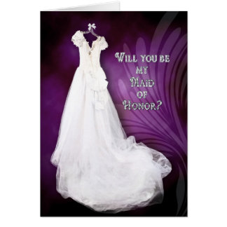 MAID OF HONOR - BRIDAL PARTY ATTENDANT REQUEST CARD