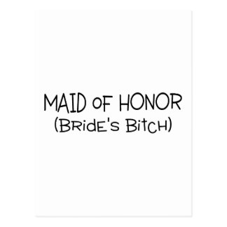 Maid Of Honor Brides Bitch Black Text Postcard