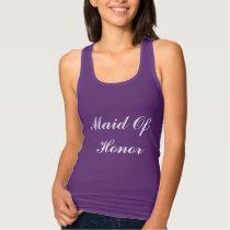 Maid Of Honor Bridesmaid White Purple Weddings Tank Top