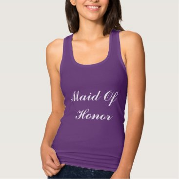 Beach Themed Maid Of Honor Bridesmaid White Purple Weddings Tank Top