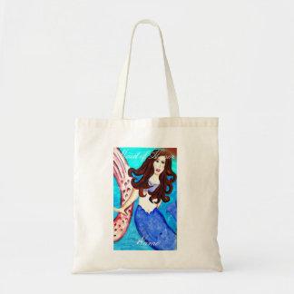 Maid of honor brunette blue-tail mermaid tote bag