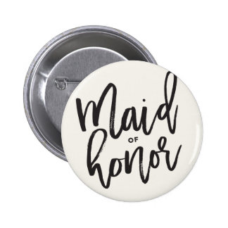 Maid Of Honor Brush Wedding Bridal Party Button