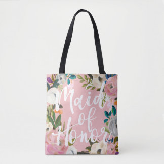 Maid of Honor Brushed Floral Wedding Party Pink Tote Bag
