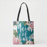 """Maid of Honor Brushed Floral Wedding Party Tote<br><div class=""""desc"""">Custom color background and all over printing with painted floral edges. Maid of Honor in brush script on one side and name on the back. Customize to change the background color (turquoise). Black looks amazing too. The gorgeous painted florals are by Create the Cut. Find them on Creative Market https://crmrkt.com/7WdAX,...</div>"""