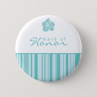 Maid of Honor Button-Modern Stripes (Blue) Button
