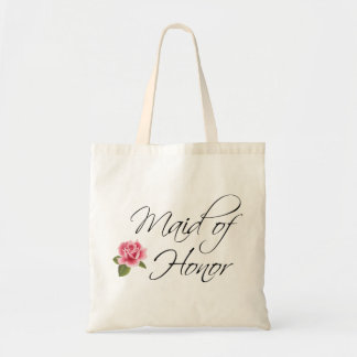 Maid of Honor Calligraphy and Rose Tote Bag