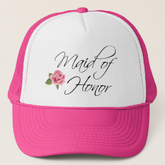 Maid of Honor Calligraphy and Rose Trucker Hat