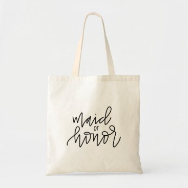 Bride Themed Maid of Honor Calligraphy Tote Bag