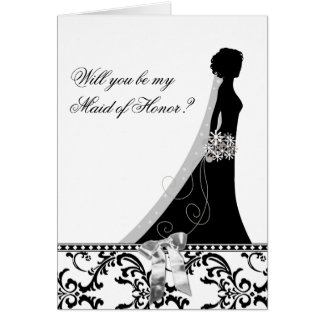 Maid of Honor Cards with Damask Bridal Veil Bow