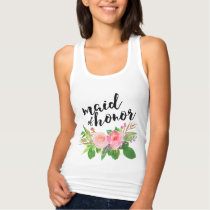 Maid of Honor Chic watercolor Floral Tank Top