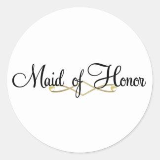 Maid Of Honor Classic Round Sticker