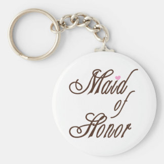 Maid of Honor Classy Browns Basic Round Button Keychain