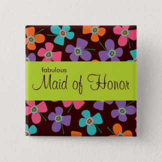 MAID OF HONOR Colorful Daisy Pop Wedding Button