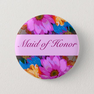 """""""Maid of Honor"""" - Crazy Daisies (1) Pinback Button"""