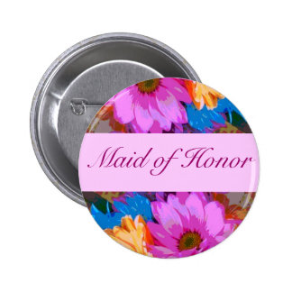 """Maid of Honor"" - Crazy Daisies (1) Pinback Button"