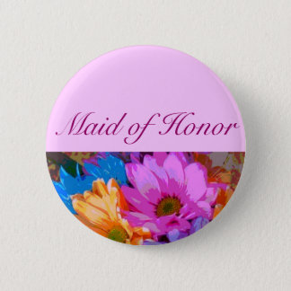 """""""Maid of Honor"""" - Crazy Daisies (2) Button"""