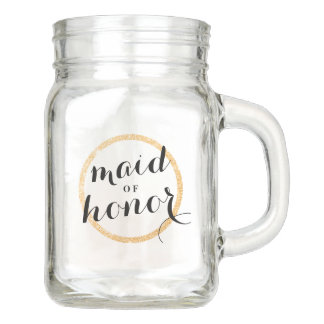 Maid of Honor Cup with Faux Gold Glitter Ring Mason Jar