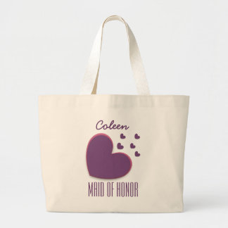 MAID OF HONOR Custom Name Heart Explosion A02 Large Tote Bag