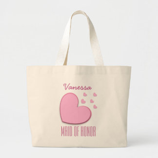 MAID OF HONOR Custom Name Heart Explosion A08 Large Tote Bag
