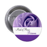 MAID OF HONOR Custom Name Lavender Purple Rose Button