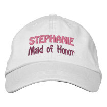 MAID OF HONOR Custom Name WHITE A07C Embroidered Baseball Hat