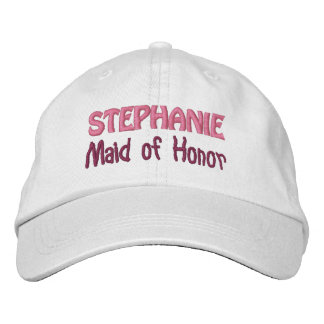 MAID OF HONOR Custom Name WHITE A07C Embroidered Hats