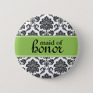 Maid of Honor Damask Button