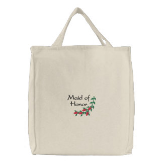 Maid of Honor Embroidered Tote Bag With Red Roses