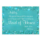 Maid of Honor - Emerald Green Postcard