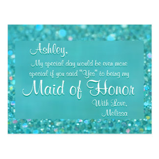 Maid of Honor - Emerald Green Postcard