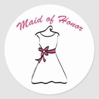 Maid of Honor Favors Classic Round Sticker