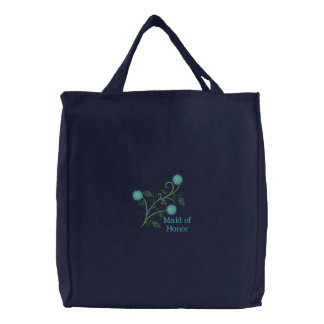 Maid of honor Floral Embroidered Canvas Tote Bag