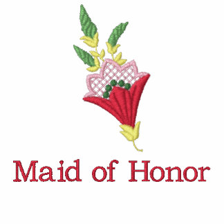 Maid of honor floral embroidered women's t-shirt