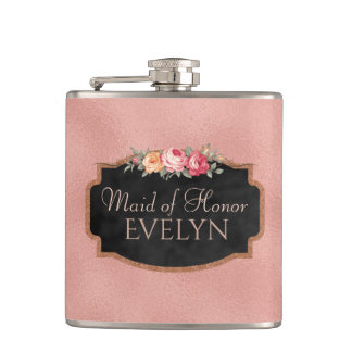 Maid of Honor   Floral Rose Gold Wedding Flask