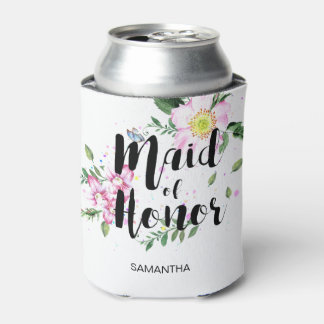 Maid of honor Floral Watercolor Wedding Can Cooler