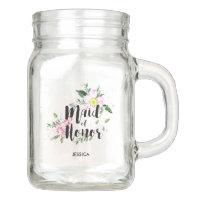 Maid of honor Floral Watercolor Wedding Mason Jar