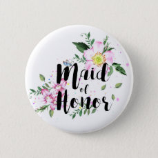 Maid of honor Floral Watercolor Wedding Pinback Button