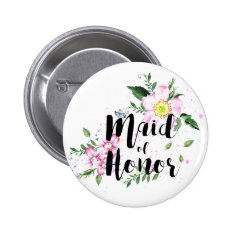 Maid Of Honor Floral Watercolor Wedding Pinback Button at Zazzle