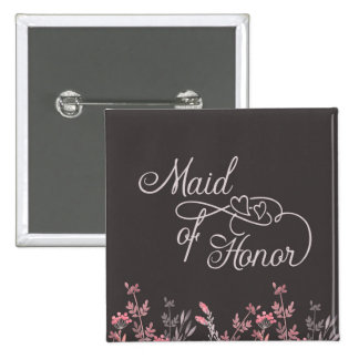 """""""Maid of Honor"""" """"Floral Wedding"""" Pinback Button"""