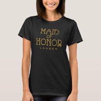 Maid of Honor Gold Faux Glitter Custom Shirt