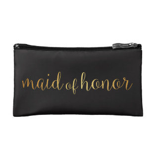 Maid Of Honor Golden Makeup Bag at Zazzle